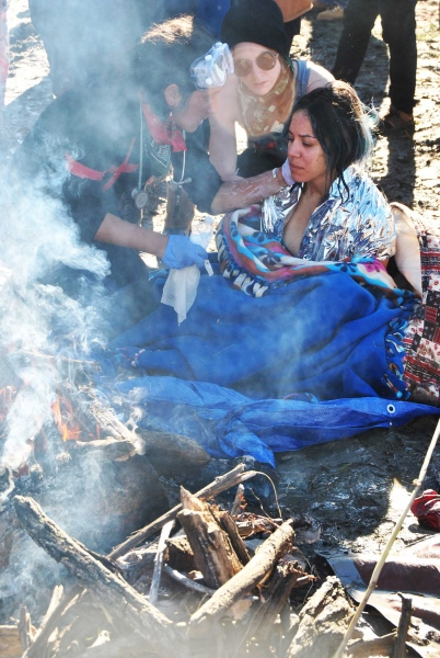 Activist warming up after coming out of Cantapeta Creek - photo by C.S. Hagen