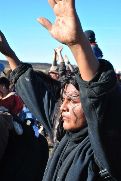 Activist at Cantapeta Creek - photo by C.S. Hagen