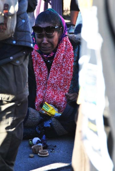 Activist at Highway 1806 barricade - photo by C.S. Hagen