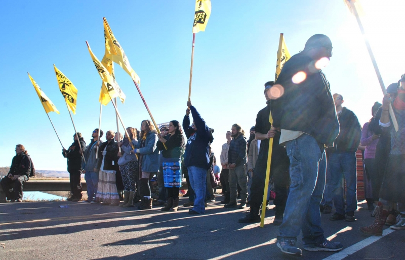 Activists at Highway 1806 barricade - photo by C.S. Hagen