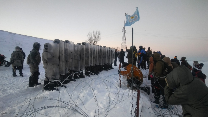 Activists nearing DAPL drill pad - photo provided by Johnny Dangers