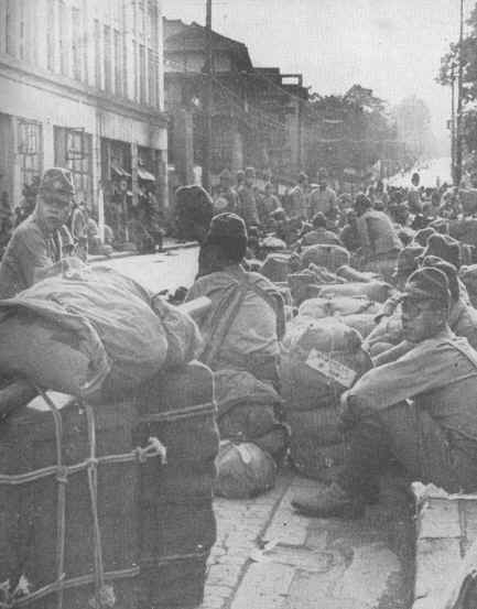 Japanese soldiers awaiting evacuation after WWII