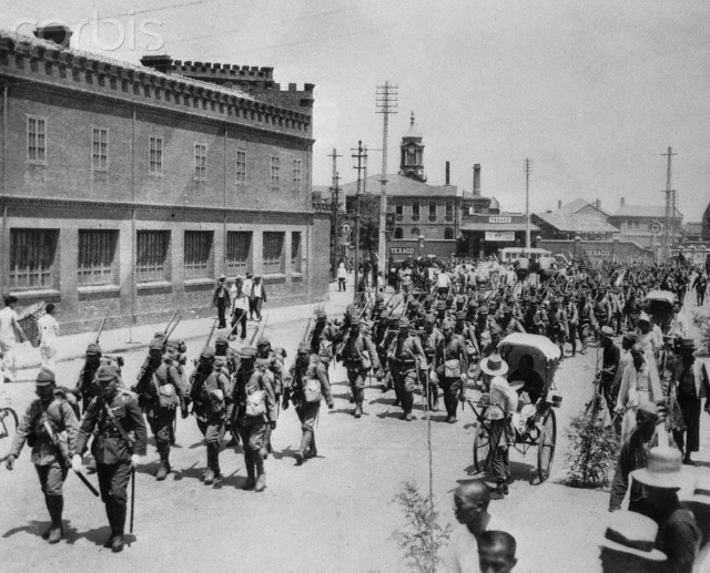 Japanese troops enter Tientsin 1937